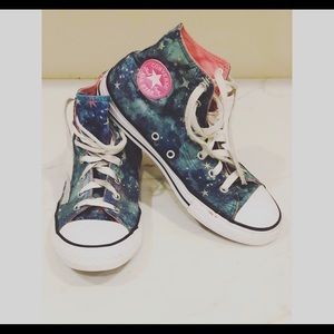 Converse Girls Turbo Green Star Pink Hi Top Sz 4